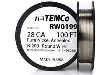 TEMCo Pure Nickel Wire 28 Gauge 100 Ft non resistance AWG Ni200 Nickel 200 ga