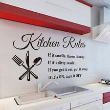 Kitchen Rules Wall Sticker Vinyl Quote Mural Home Art DIY Decal Removable Decor