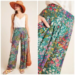 New Anthropologie Cabo Pleated Wide-Leg Pants Floral Size 6 Small BEAUTIFUL!!