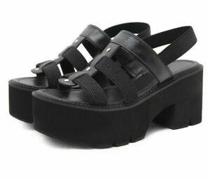 Plus Size 43 Platform Sandals Women Thick Bottom Soft Comfort Shoe Elastic Strap