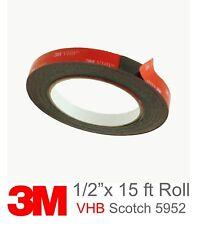 3M Scotch 5952 VHB Double Sided Foam Tape: 1/2 inch x 15 feet (Black)