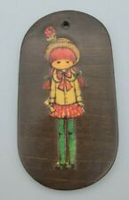 Vintage 1970's Decoupage Girl in Flower Straw Hat 4 x 2 Inch Wooden Plaque Oval