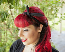 Black Chiffon Hairband Retro 50's Rockabilly hair tie W/ small end