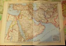 Old Syria, Iraq, Arabia, Persian Afghanistan Map of Atlas Vintage 1957 in German