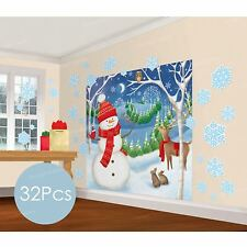 5ft Winter Wonderland Snowman Scene Setter Wall Christmas Decor + 30 Snowflakes