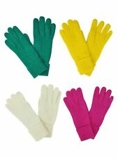 YELLOW GREEN FUCHSIA OFF WHITE 4-PACK WINTER WOOL ANGORA BLEND WOMEN'S GLOVES