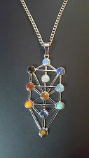 "Natural Gemstone Kabbalah Tree of Life Healing Chakra Pendant 20"" Necklace    d6"