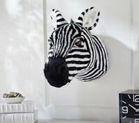 Pottery Barn Kids Jenni Kayne Plush Zebra Head Wall Art Safari Animal NEW in BOX