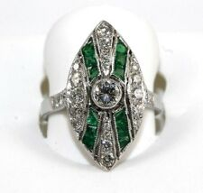 Platinum Round Diamond & Emerald X Solitaire Marquise Cluster Ring 1.62Ct