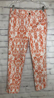 CHICOS The Platinum Crop Pant Womens Floral Capri White Orange Floral Sz 0