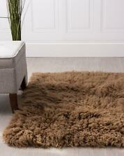 Super Area Rugs Contemporary Handmade Flokati Shag Solid Area Rug in Brown