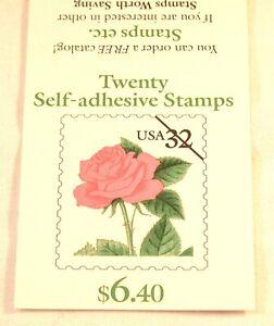 1995 Pink Rose 20- 32¢ self adhesive stamp booklet Scott 2492