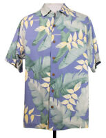 Tommy Bahama Mens S Blue Floral Beach Camp Hawaiian 100% Silk Shirt