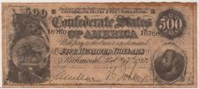 CONFEDERATE STATES OF AMERICA $500 DOLLAR MONEY NOTE REPRODUCTION CURRENCY