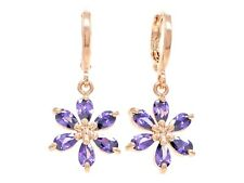 Authentic rose gold plated drop flower earrings citrine raindrop petal gems box