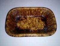 "Antique Rockingham Pottery Yellowware Soap Dish Bennington Rectangular Bowl 7.5"""