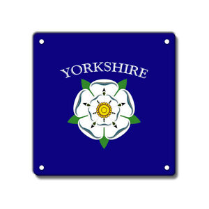 Yorkshire Rose Metal Sign, White, County, Royal Blue, 200 x 200 mm 8 x 8 inch
