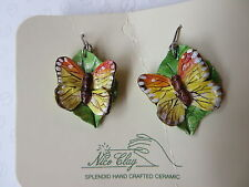 HANDCRAFTED & HANDPAINTED Ceramic Dangling Earrings - 'Butterfly on Leaf' - NEW
