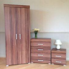 Bedroom Furniture Set *Walnut Effect* Wardrobe 4 Drawer Chest Bedside Cabinet