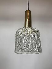 50er 60er Lampe Brass Ice-Glass Design Lamp Kalmar Nikoll Era 50s 60s D:14cm