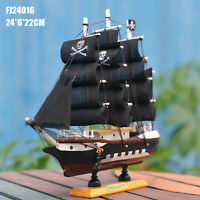 Handmade Wooden Sailing Ship Carved Model Black Pirate Ship Nautical Decoration