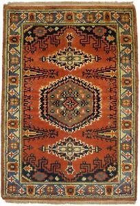 Vintage Style Handmade Small 2X3 Oriental Rug Wool Farmhouse Entrance Carpet