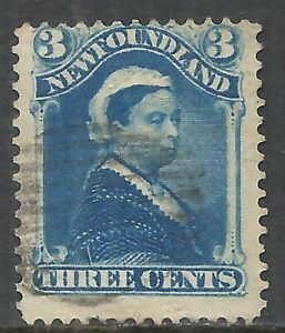 NEWFOUNDLAND SCOTT 49 USED FINE - 1896 3c BLUE ISSUE (C)   CAT $7.00