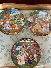 Franklin Mint Three Teddy Bear Heirloom Plates