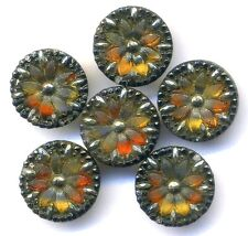 One Pretty Antique Lacy Glass Button…Colors Glow From Within…Dupes Available