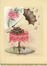 VINTAGE GRAMOPHONE RECORD PLAYER MUSIC NOTES TABLE COLLAGE PICTURE ART PRINT