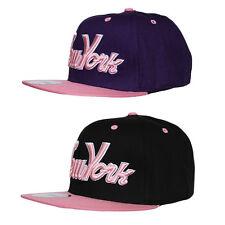 R C Headwear NY New York 3D Script Logo Snapback Flat Peak Cap Hat Snap Back