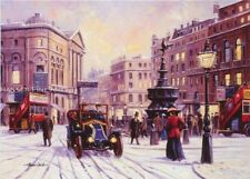 Piccadilly London Bus Peugeot Car Traditional Nostalgic Christmas Xmas Card