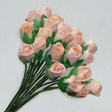 20 PEACH CARD CRAFT ROSES 4MM FOR CARDS OR CRAFTS