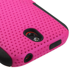 For HTC One SV MESH Hybrid Silicone Rubber Skin Case Phone Cover Hot Pink