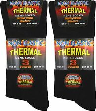 6 Pair Mens Black Non Elastic Thermal Socks Size 6-11 UK Postage
