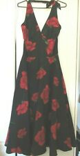 Stop Staring 50s Black Red Roses Halter Swing Dress S 8 10 PinUp Retro Repro