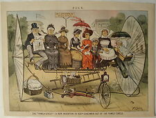 Puck 1894 Fanciful BICYCLE Contraption - The Family-Cycle! Blaine & Logan Print