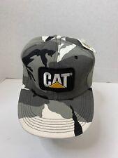 Vintage Tonkin CAT Caterpillar Gray Camo Snapback Foam Lined Baseball Cap Hat