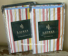 NEW Ralph Lauren HARBOR VIEW Colorful STRIPE Cottage Beach STANDARD PILLOW SHAMS