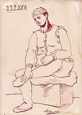 Old Drawing signed Picasso Original Brown Ink