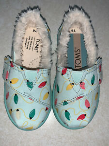 Toms Tiny Alpargata Glow In The Dark Mint Holiday Lights Slip On Shoes Sz 6 New