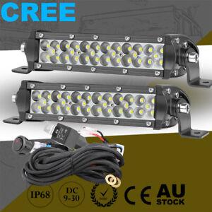 """7"""" Tri Row Super Slim LED Work Light Bar Spot Driving 4WD 8"""" x2+ Wiring Loom Kit"""