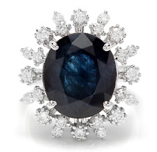9.80Ct Natural Blue Sapphire & Diamond 14K White Solid Gold Ring