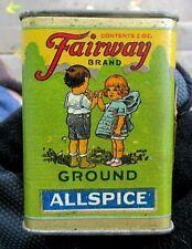 VINTAGE FAIRWAY BRAND 2 OUNCE GROUND ALLSPICE SPICE TIN WITH CHILDREN