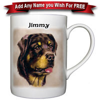 Rottweiler - Bone China Mug + Personalized with any name added free
