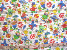 "1 yd x 43"" One-Sided Pre Quilted Cotton Fabric, White with Circus Clowns, Toys"