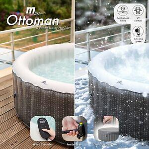MSpa Ottoman 6 Person (4+2) Round Inflatable Hot Tub Spa Jacuzzi Premium Grey