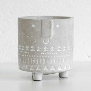 15cm Aztec Face Cement Indoor House Plant Pot Cover Planter Holder Home Decor