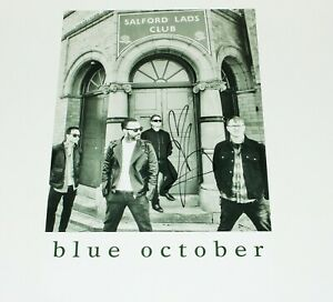 BLUE OCTOBER JUSTIN FURSTENFELD SIGNED 12x18 PROMO PRINT POSTER w/COA BAND