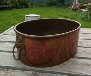 Vintage Oval Copper Plant Pot / Holder; Planter; Trough Lion Mask Handles 26cm